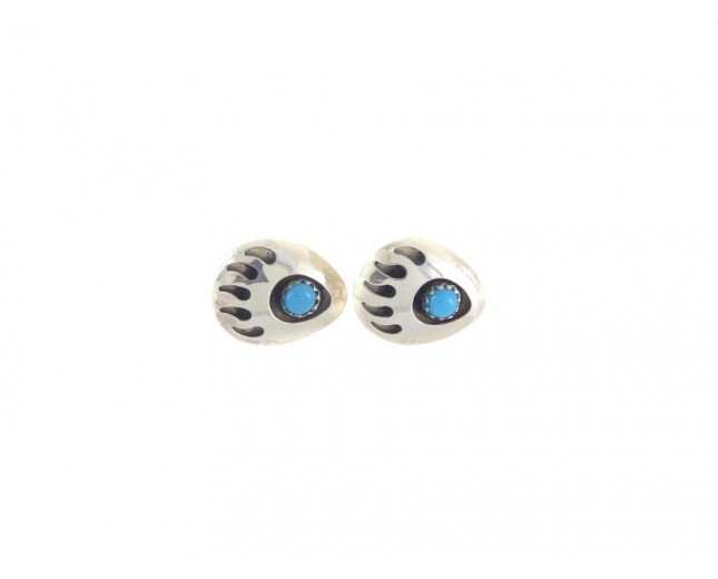 Kingman Turquoise Bear Paw Sterling Silver Stud Earrings