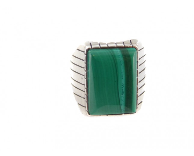 Malachite Men's Rectangle Sterling Silver Ring