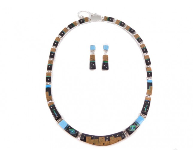 Multi Stone Pueblo Style Reversible Sterling Silver Set