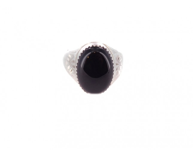 Onyx Men's Oval Sterling Silver Ring