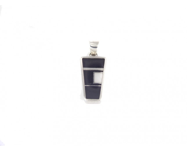 Onyx Inlay Trapezoid Sterling Silver Pendant