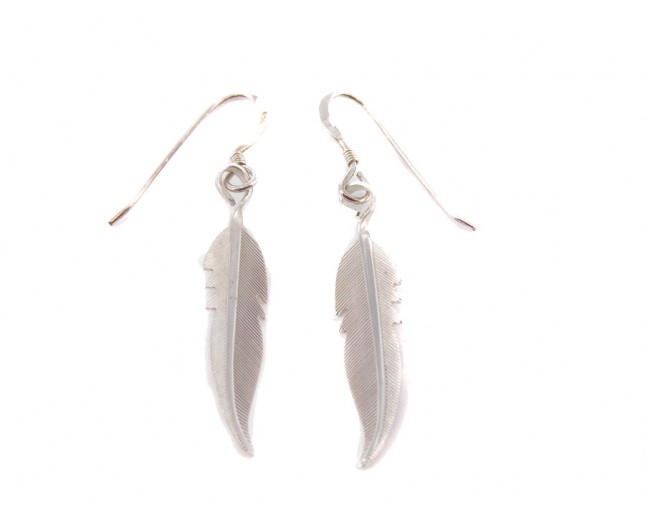 Silver Feather Sterling Silver Dangle Earrings