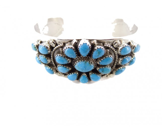 Sleeping Beauty Turquoise Squash Blossom Heavy Sterling Silver Cuff Bracelet