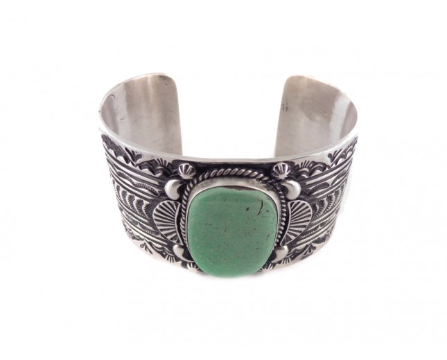 Turquoise Heavy Sterling Silver Cuff Bracelet