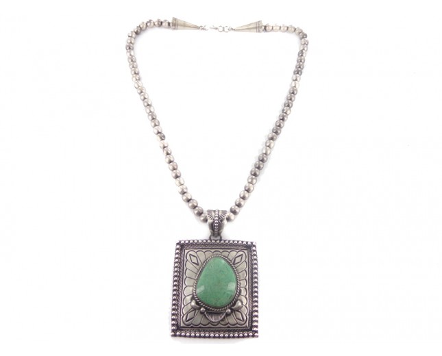 Turquoise Navajo Pearl Sterling Silver Necklace