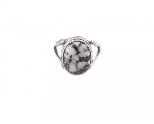 White Buffalo Turquoise Round Sterling Silver Ring