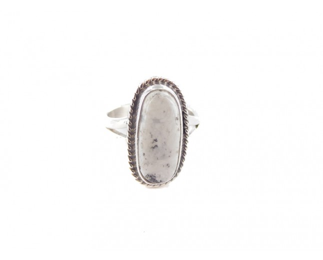 White Buffalo Turquoise Small Oval Sterling Silver Ring