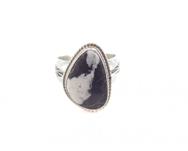 White Buffalo Turquoise Triangle Sterling Silver Ring