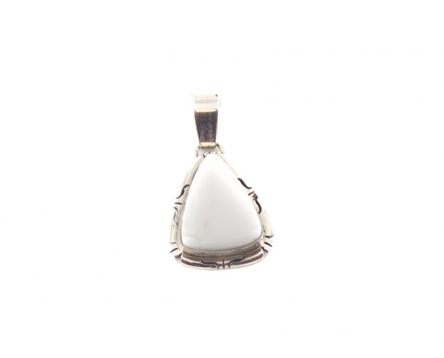 White Buffalo Turquoise Small Triangle Sterling Silver Pendant