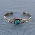 Kingman Turquoise Vertical Oval Sterling Silver Cuff Bracelet