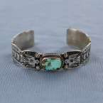 Thunder Bird Royston Turquoise Sterling Silver Cuff Bracelet