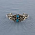 Sleeping Beauty two stone feather Sterling Silver Cuff Bracelet