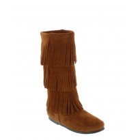 1632 Brown 3-Layer Fringe Minnetonka Moccasins