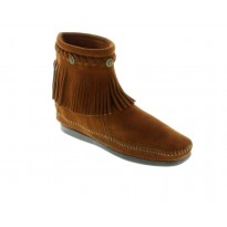 292 Brown Ankle Back Zip Fringe Minnetonka Moccasins