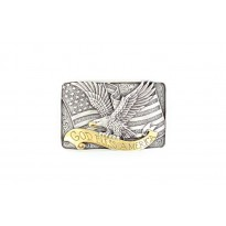 Bald Eagle Flying Over Banner Nocona Belt Buckle
