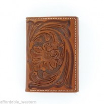 Tony Lama® Brown Tooled Leather Tri-fold Wallet with Floral Tooling