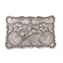 Bullrider And Stars Rectangle Belt Buckle