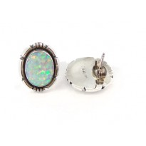 Fire Opal Feather Edged Oval Sterling Silver Stud Earrings