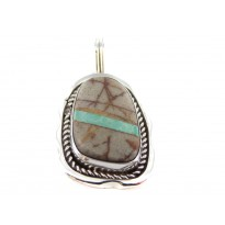Boulder Turquoise Rope Edged Sterling Silver Pendant