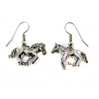 Horse Running Sterling Silver Dangle Earrings