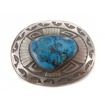 Kingman Turquoise Black Etched Sterling Silver Buckle