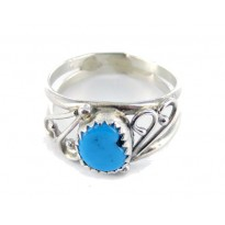 Kingman Turquoise Spiral Sterling Silver Ring