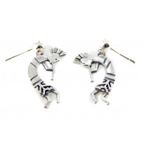 Kokopelli Small Etched Sterling Silver Earrings
