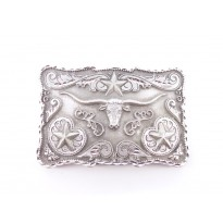 Longhorn And Stars Rectangle Belt Buckle