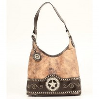 Nocona Ladies Brown and Faux Brindle Hair Handbag