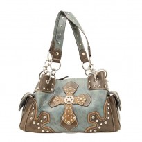 Nacona Trendy Blue and Brown Faux Leather Satchel