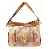 Tan Retro Floral Paisley Purse