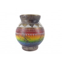 Round Small Rainbow Horse Hair Pottery