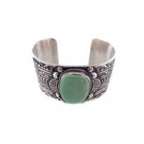 Turquoise Heavy Sterling Silver Cuff Bracelet
