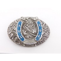 Turquoise Horseshoe Oval Belt Buckle