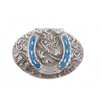 Turquoise Horseshoe Oval Belt Buckle