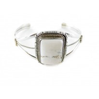 White Buffalo Turquoise Square Sterling Silver Cuff Bracelet