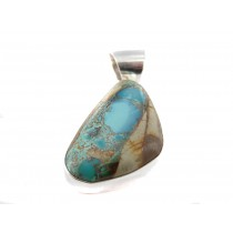Boulder Turquoise Smooth Edged Sterling Silver Dangle Pendant
