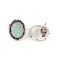 Fire Opal Feather Edged Oval Sterling Silver Stud Earrings