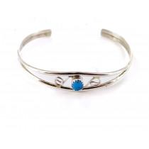 Kingman Turquoise Spiral Sterling Silver Bracelet