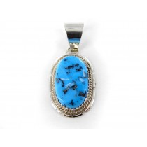 Kingman Turquoise Sterling Silver Oval Pendant