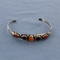 The Multi-Color Spiny Oyster Sterling Silver Cuff Bracelet