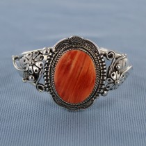 Spiny Oyster Embellished Sterling Silver Cuff   Barcelet