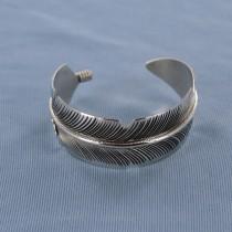 Silver Feather Sterling Heavy Silver Cuff Bracelet