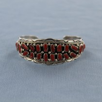 Coral Cluster Sterling Silver Cuff Bracelet