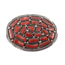 Coral Cluster Sterling Silver Buckle