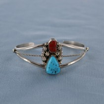 Coral and Kingman Turquoise Sterling Silver Cuff Bracelet