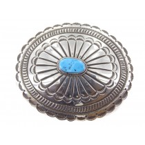 Kingman Turquoise Sterling Silver Buckle