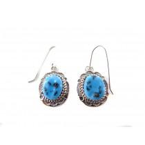 Kingman Turquoise Oval Sterling Silver Dangle Earrings