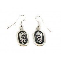Kokopelli Oval Sterling Silver Earrings
