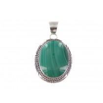 Malachite Large Sterling Silver Pendant